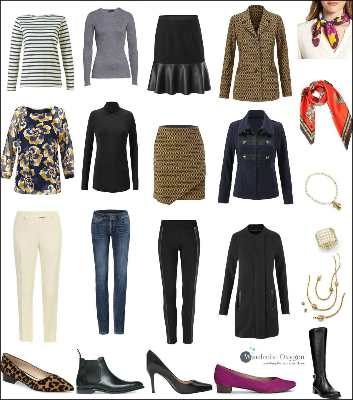 A fall capsule wardrobe inspired by the Cabi Fall 2017 Collection. Featuring pieces from the latest cabi clothing line alone with wardrobe basics, this capsule wardrobe offers more than 20 different looks for work, weekend, and beyond. Click to see photos of all the different combinations and styling tips from Wardrobe Oxygen