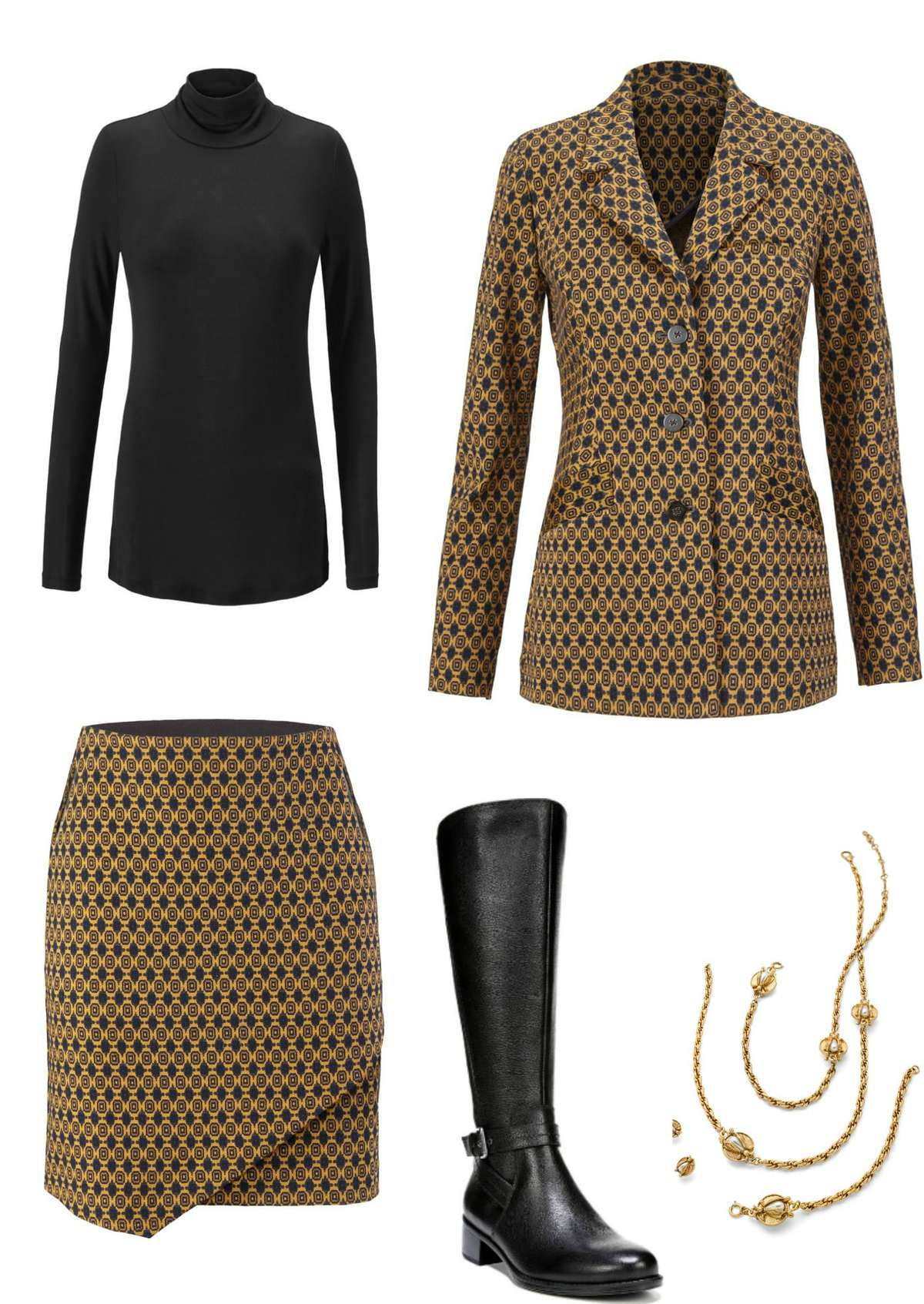 Ride Alone: A similar look to the previous, but a switch from pumps to the Naturalizer Winnie riding boots give a different effect.  Add opaque black tights for warmth and a sleek leggy effect.