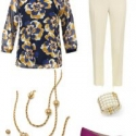 The cabi Lydia blouse styled with ivory ankle length pants, the cabi Buzz Necklace, Heritage Bracelet, and Aerosoles Subway pumps in purple suede.