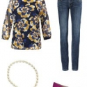 The cabi Lydia blouse styled for weekend with the cabi Dover Skinny jeans, Heritage necklace, and Aerosoles Subway pumps in purple suede.