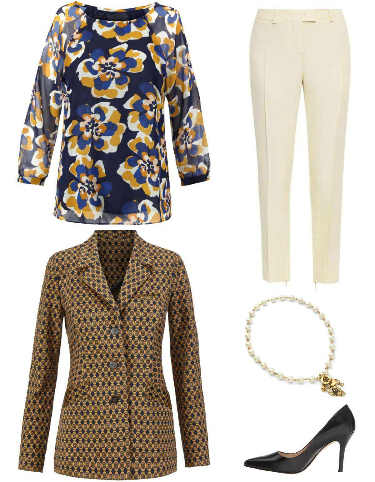 The cabi Lydia blouse styled for the office, paired with the cabi Standout Jacket, ivory ankle length trousers, cabi Heritage necklace and classic black pumps.