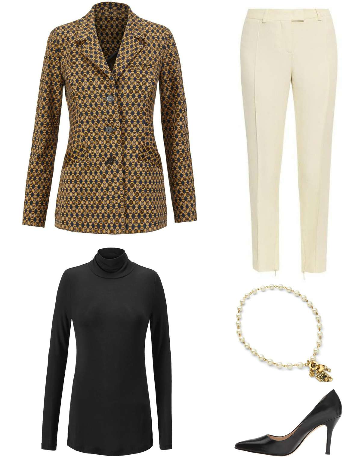 This outfit lets the cabi Standout Jacket stand out by pairing it with the cabi Layer Turtleneck, ivory ankle length trousers, the cabi Heritage Necklace, and classic black pointed toe pumps.