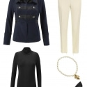 The cabi In The Band Jacket styled with the Layer Turtleneck, ivory ankle length pants, cabi Heritage necklace, and classic black pointed toe pumps.