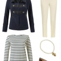 The cabi In The Band Jacket styled with a classic Breton top, ivory ankle length trousers (yes you can mix white with ivory!), cabi Heritage Necklace, and Cole Haan Heidy flats in leopard calfhair.