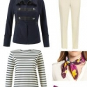 The cabi In The Band Jacket styled with ivory ankle length pants, a Breton top, Aerosoles Subway pumps in plum suede, and a plum printed silk scarf from Nordstrom's in-house brand Halogen.
