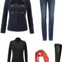 The cabi In the Band Jacket styled for the weekend with the cabi Dover Skinny Jeans, Layer Turtleneck, and Naturalizer Winnie riding boots.  For a pop of color, use the cabi Deidre scarf as a belt!