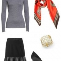 A simple grey merino crewneck sweater gets glammed up with the cabi Flip Skirt, cabi Deidre Scarf and Heritage Bracelet, and elegant pointed toe black leather pumps.