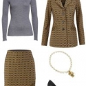 The cabi Standout Skirt and Standout Jacket are busy; tone them down with a classic grey healther merino crewneck, the cabi Heritage Necklace, and classic black leather ponted toe pumps.