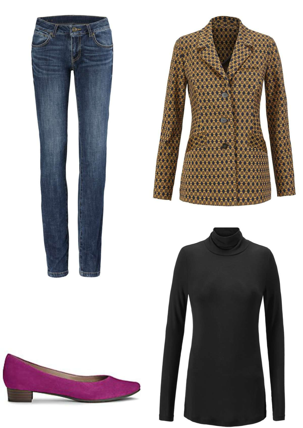 A Standout Weekend: The cabi Standout Jacket styled for the weekend with the Dover Skinny Jeans, Layer Turtleneck, and the Aerosoles Subway Pumps for a pop of color.