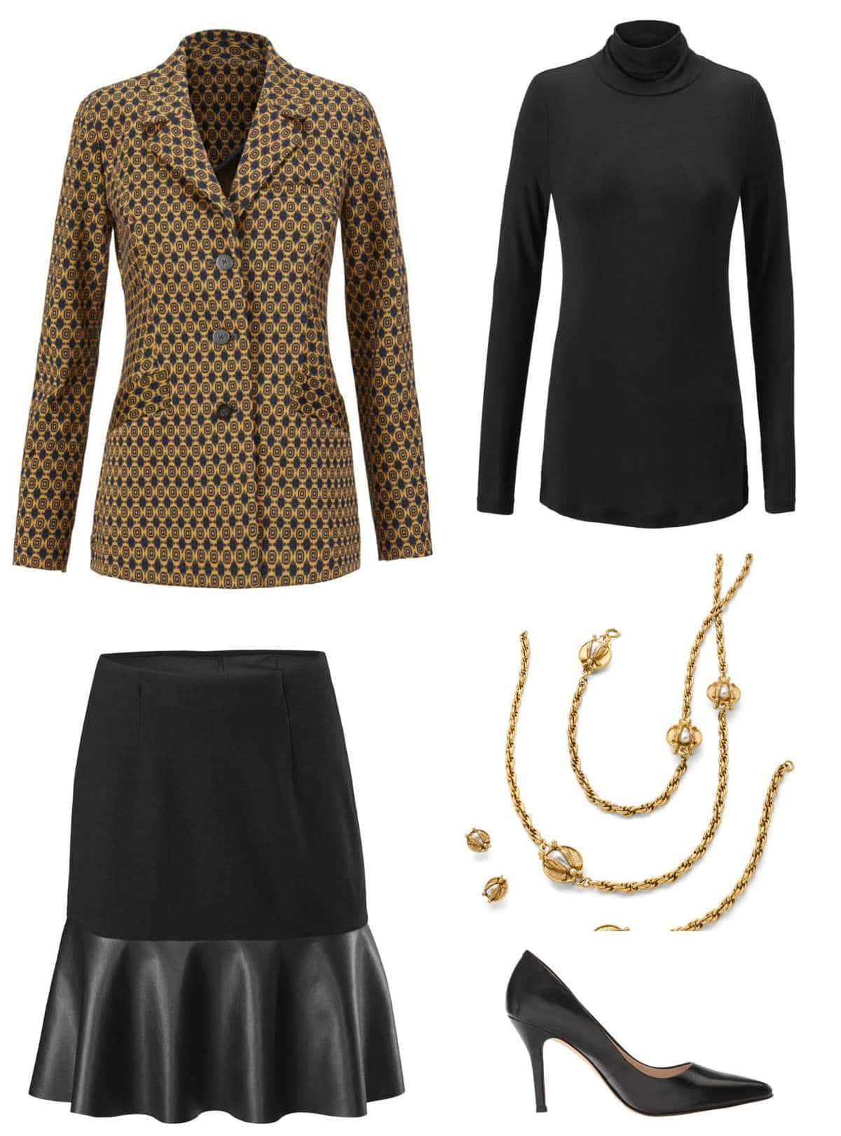 The cabi Standout Jacket styled for work with the cabi Flip Skirt, Layer Turtleneck, Buzz Necklace and Earrings, and classic black pumps.