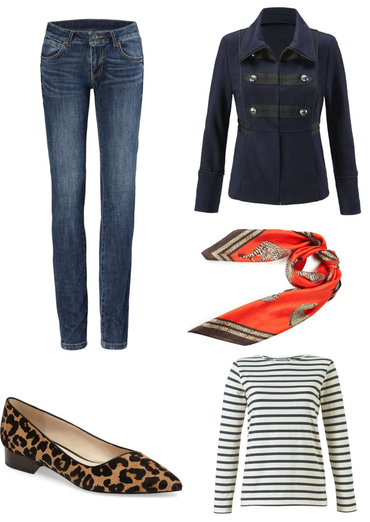 cabi In The Band Jacket styled with the cabi Dover jeans, Deidre scarf, a Breton tee, and Cole Haan Heidy leopard calfhair flats