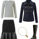 the cabi In The Band jacket styled with the cabi Flip Skirt, a Breton tee, and Naturalizer Winnie riding boots