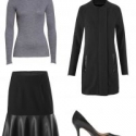 the cabi Tailor Coat and Flip Skirt styled for work with a grey merino crewneck and black pumps