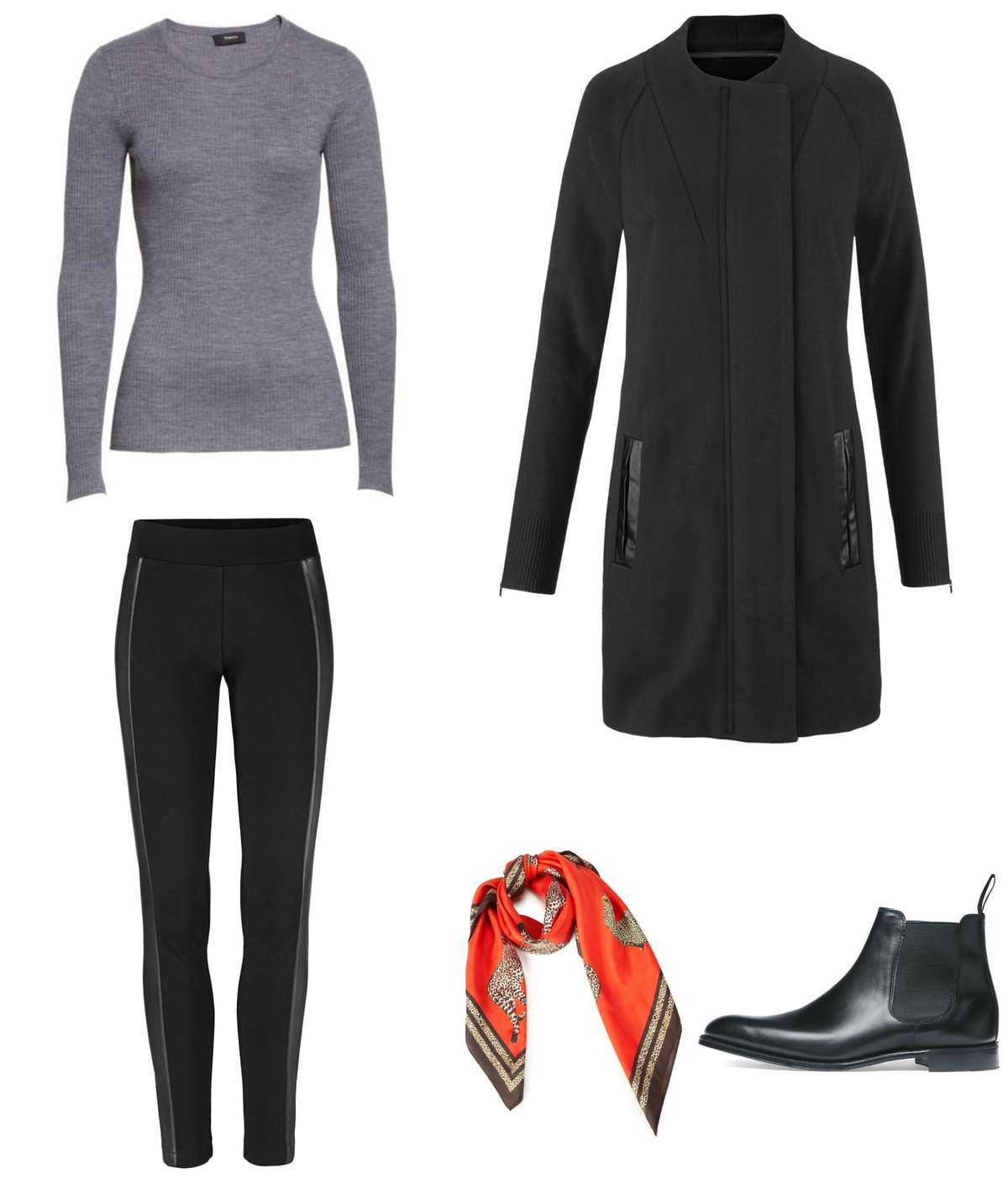 the cabi Tailor Coat and Bexley Legging styled with a merino crewneck, Chelsea boots, and the Deidre scarf for a pop of color