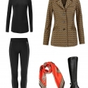 The cabi Standout Jacket styled with the cabi Bexley Legging and Layer Turtleneck, accessoried with the cabi Deidre scarf and Naturalizer Winnie riding boots