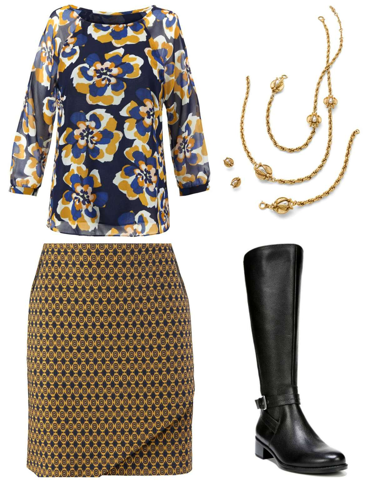 The cabi Lydia Blouse and Standout Skirt styled for fall with the cabi Buzz Necklace and Naturalizer Winnie riding boots.  Add black tights for a long legged look and warmth as the temps drop.