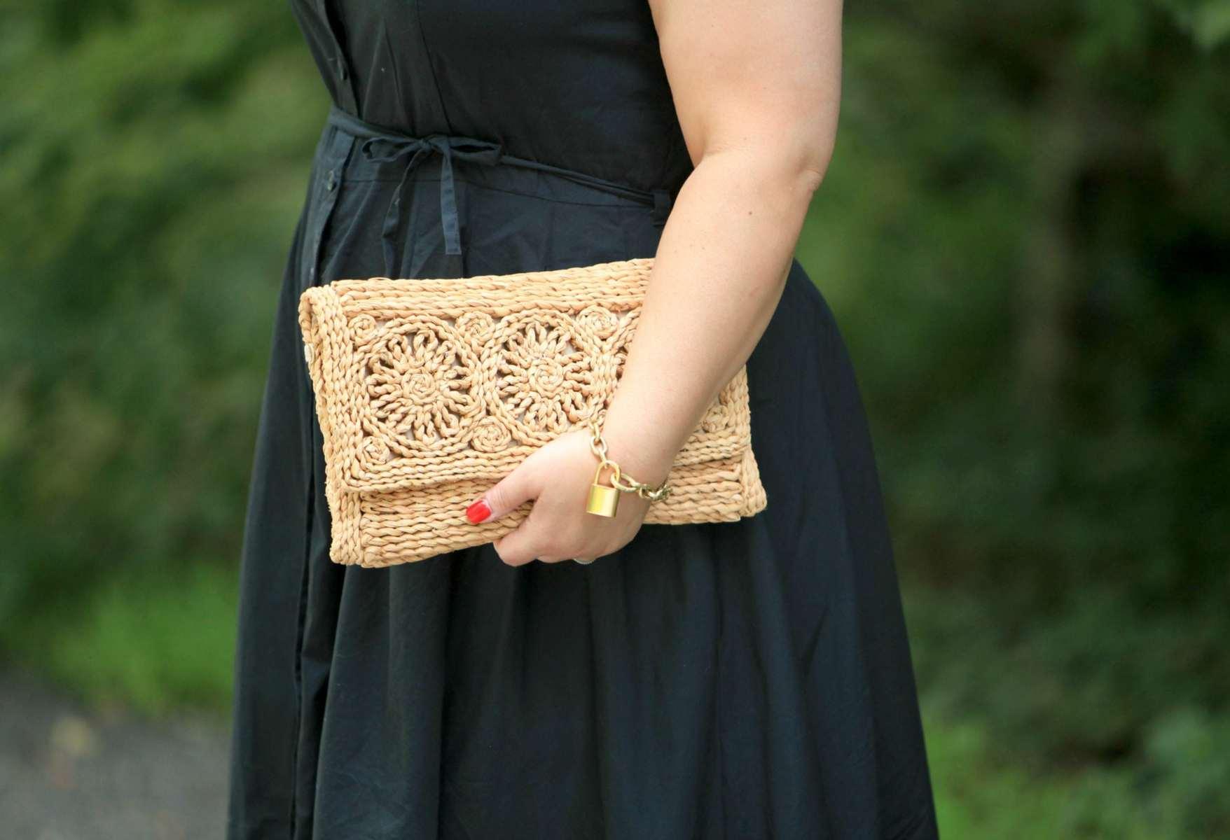 Raffia clutch bag and cabi lock & key bracelet on Wardrobe Oxygen