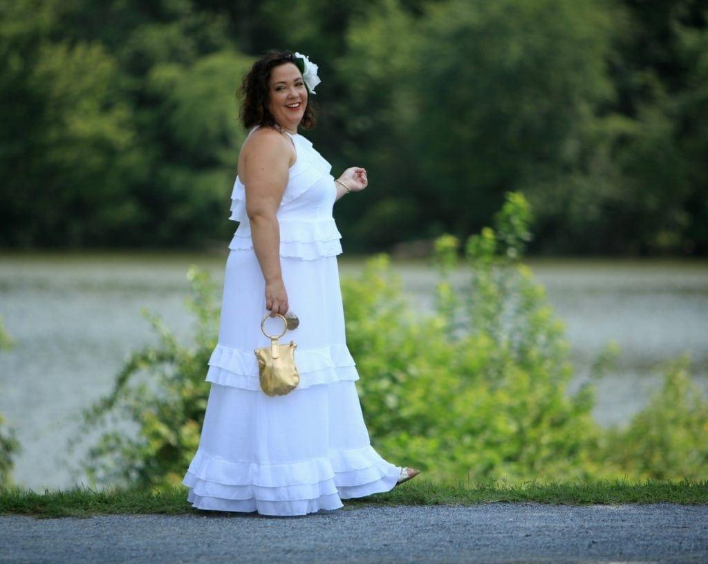 eloquii tiered flounce dress worn to diner en blanc dc
