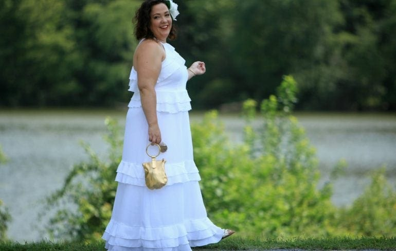 eloquii tiered flounce dress worn to diner en blanc dc