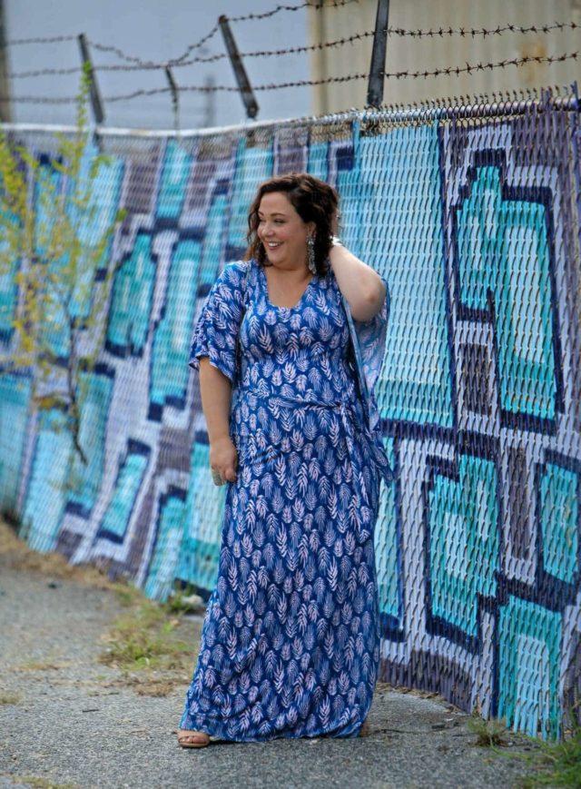 Wardrobe Oxygen in a blue Leota caftan from Gwynnie Bee