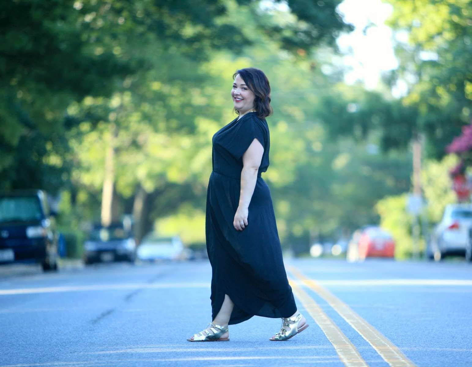 Wardrobe Oxygen in the Myne LA 'Heidi' dress in black silk with gold gladiator sandals