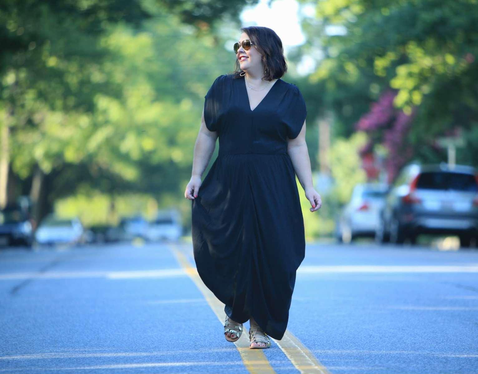 Wardrobe Oxygen in the Myne LA 'Heidi' dress in black silk with gold gladiator sandals and gold Ray-Ban aviators