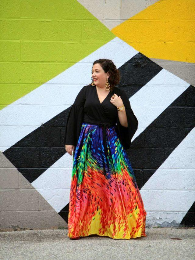 plus size rainbow maxi skirt