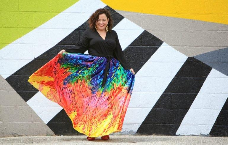 Rainbow print maxi skirt