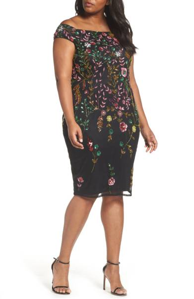 Floral overlay plus size cocktail dress from Nordstrom
