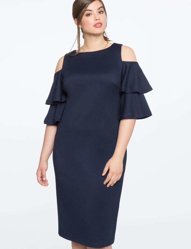 plus size cocktail dress - cold shoulder flounce dress from ELOQUII