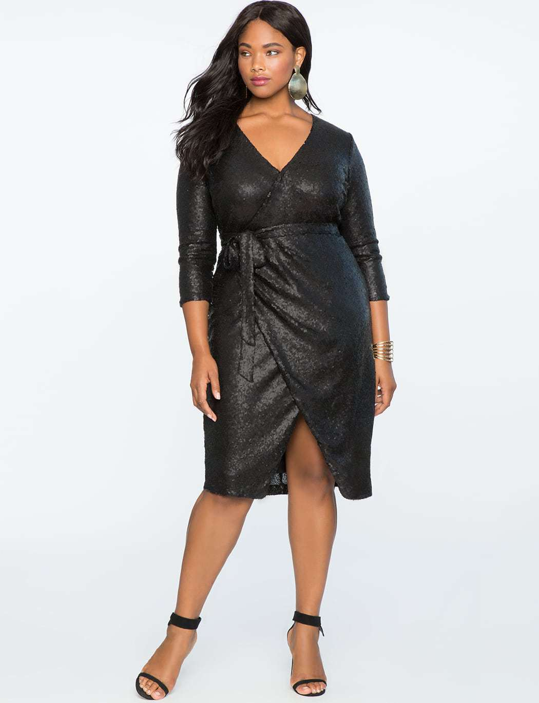 Black sequined plus size wrap dress from ELOQUII