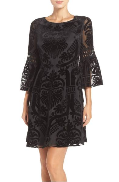 plus size velvet burnout fit and flare dress for winter cocktail parties