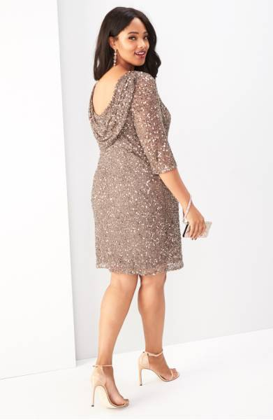 Pisarro Nights plus size beaded long sleeve dress with cowl back
