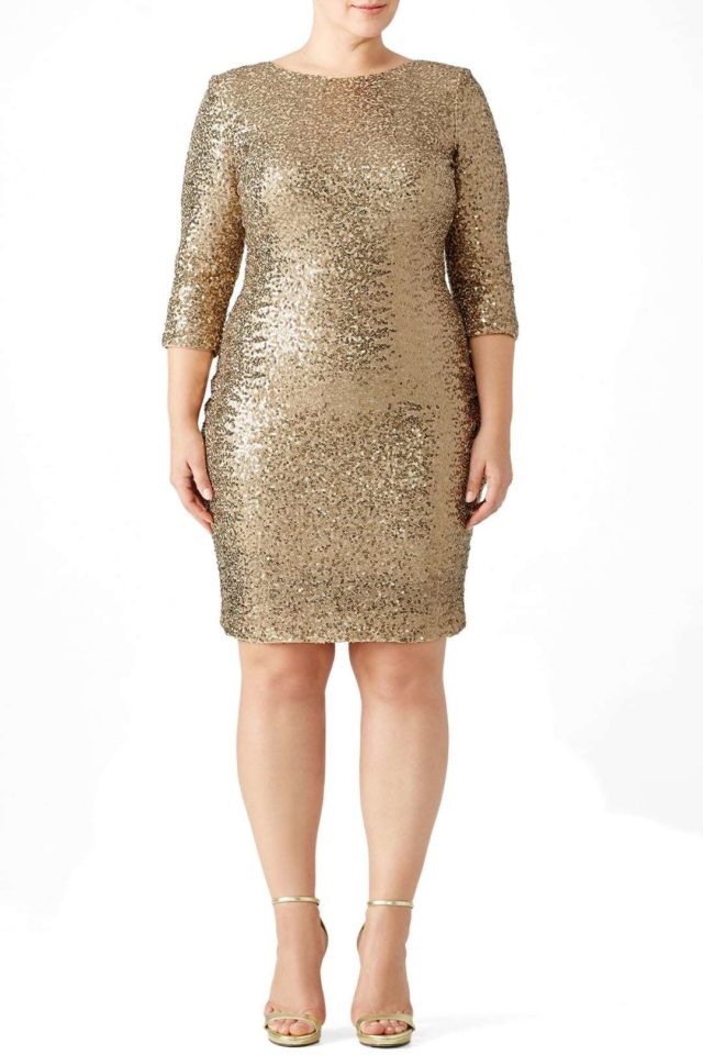 gold sequined plus size cocktail dress from Rent the Runway