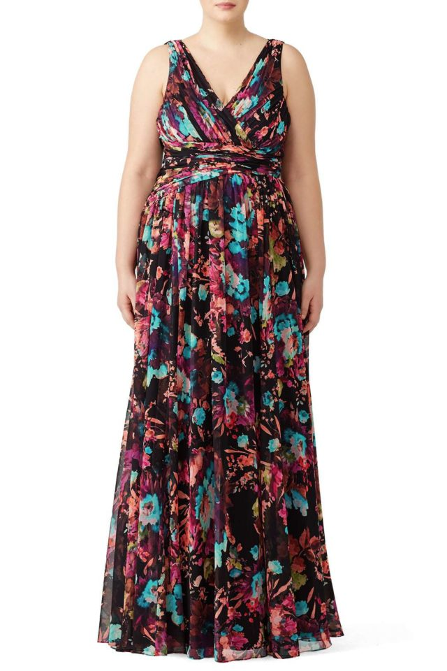 Badgley Mischka plus size floral gown from Rent the Runway