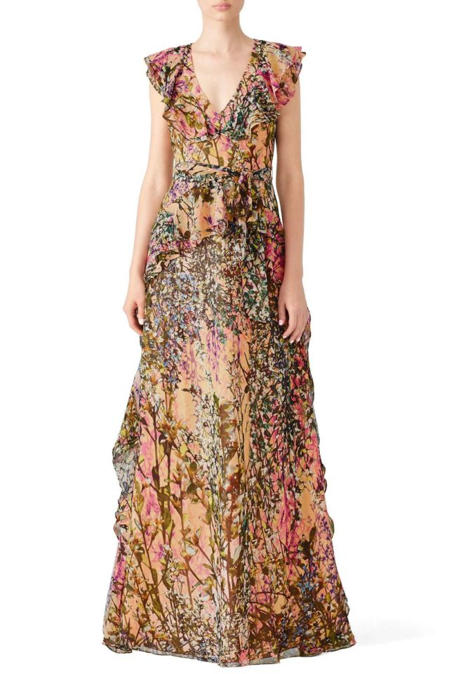 plus size floral floor length gown from Rent the Runway