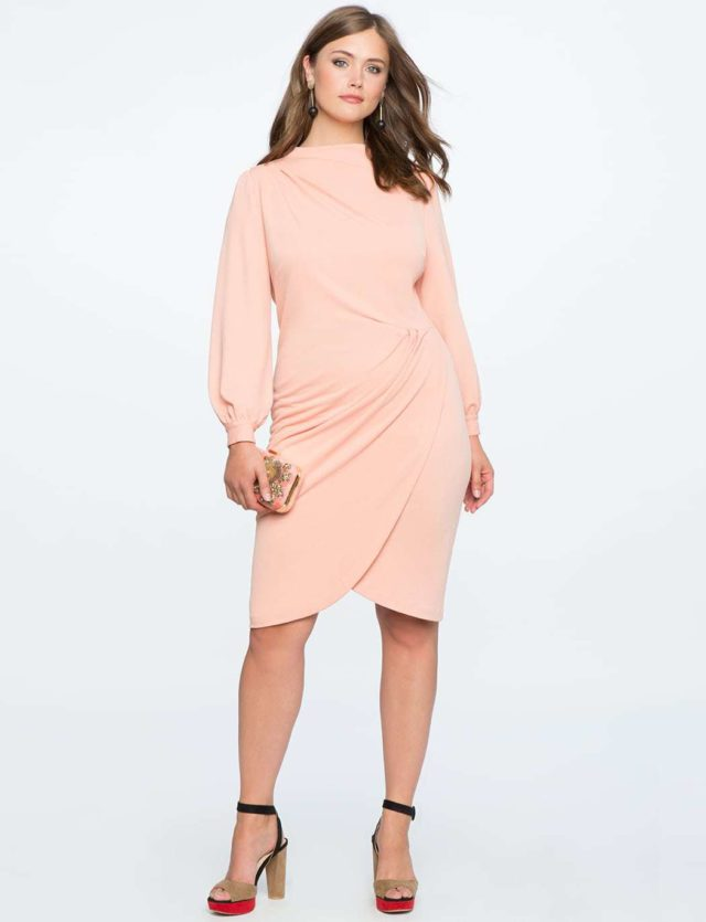 winter cocktail dress - blush pink long sleeve drape dress from ELOQUII