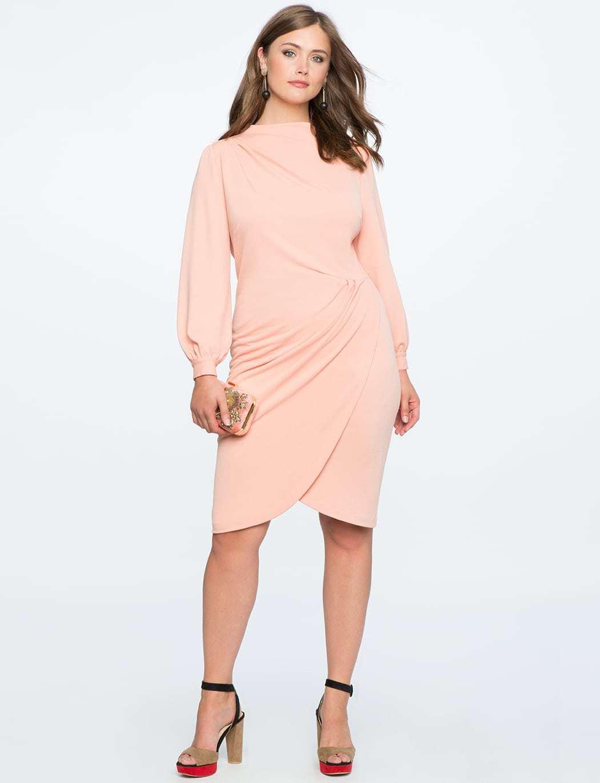 eloquii blush pink cocktail dress for winter - Wardrobe Oxygen