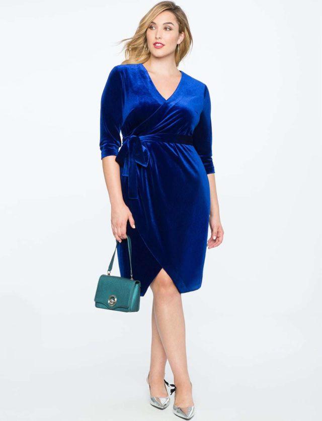 blue velvet plus size wrap dress from ELOQUII
