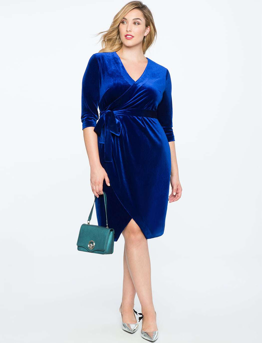 blue velvet plus size wrap dress from ELOQUII