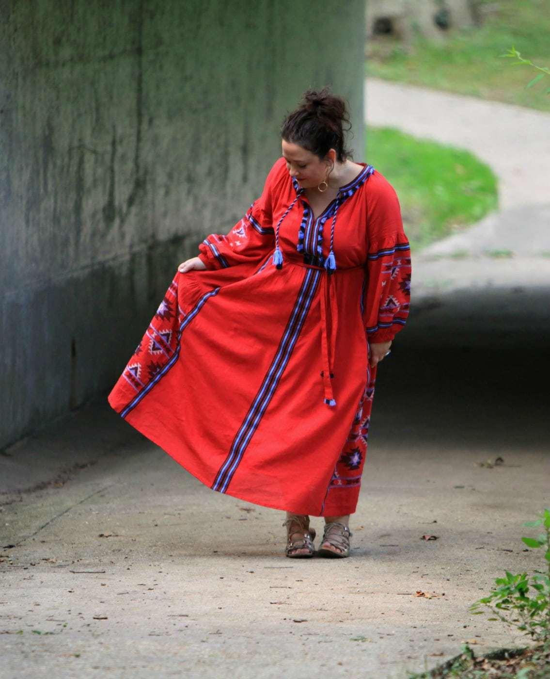 Wardrobe Oxygen in the ELOQUII Tassel Front Maxi Dress in red
