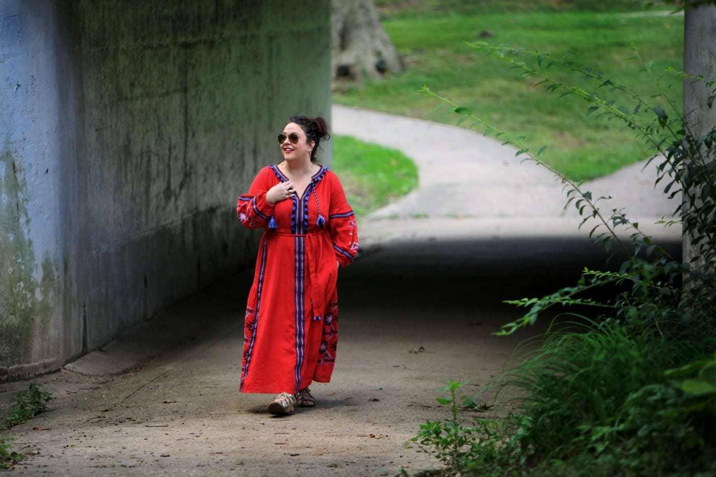 ELOQUII tassel front mazi dress in red as seen on wardrobe oxygen