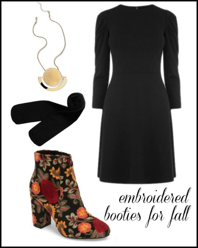 how to style embroidered ankle booties for fall