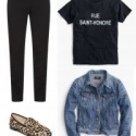 Slogan tees are hot this year, and can look polished when styled with black ankle pants and a dressier shoe.