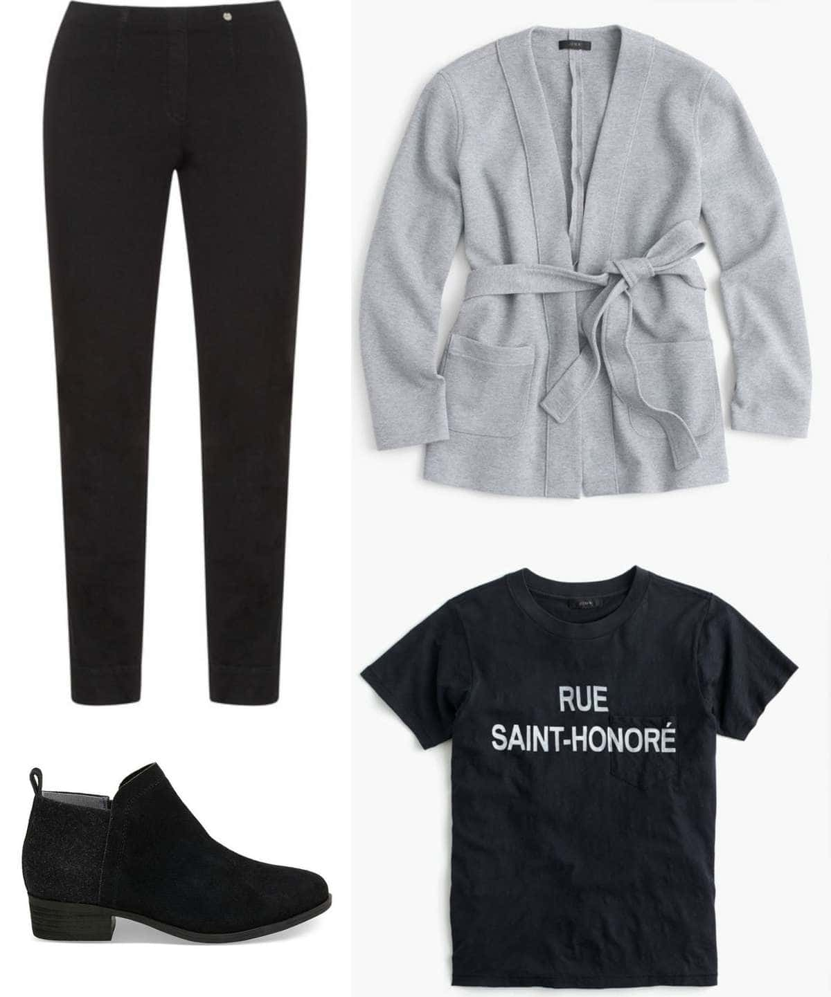 With stretchy pants and a belted sweatshirt, you can be as comfy as you would be in sweats and yoga pants!
