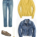 Denim on denim is a hot trend; no need to try to match or drastically contrast your washes.
