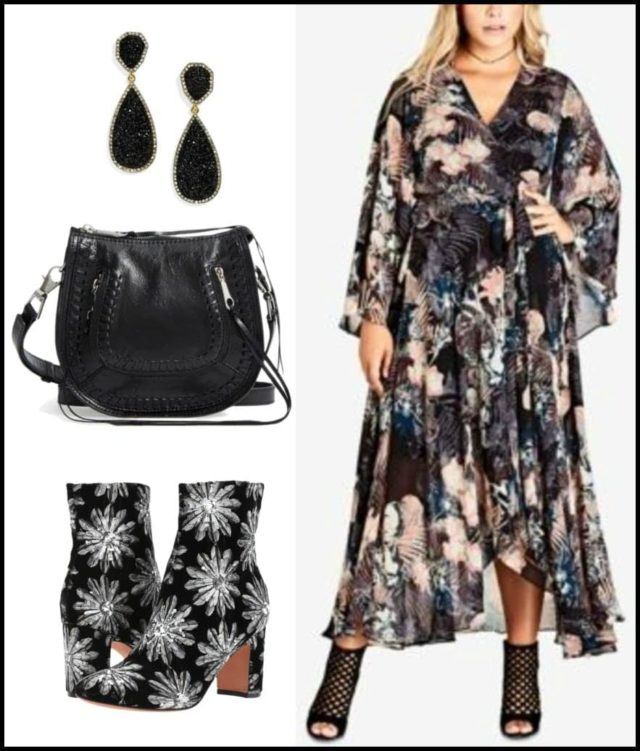 pattern mixing with embroidered ankle boots for fall