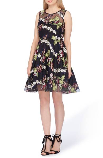 Plus size embroidery overlay fit and flare dress from Tahari
