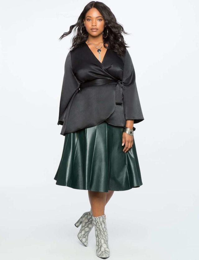 ELOQUII Review: Silky Kimono Wrap Top