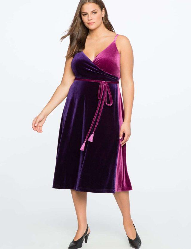 ELOQUII Review: Two-tone Velvet Wrap Dress